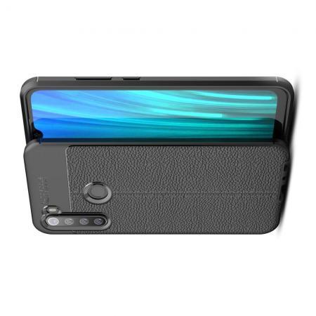 Litchi Grain Leather Силиконовый Накладка Чехол для Xiaomi Redmi Note 8 с Текстурой Кожа Черный