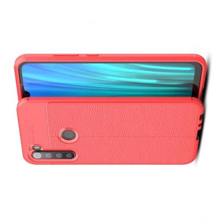 Litchi Grain Leather Силиконовый Накладка Чехол для Xiaomi Redmi Note 8 с Текстурой Кожа Красный