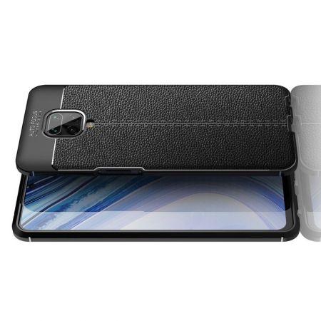 Litchi Grain Leather Силиконовый Накладка Чехол для Xiaomi Redmi Note 9 Pro / 9S с Текстурой Кожа Черный
