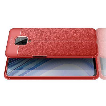 Litchi Grain Leather Силиконовый Накладка Чехол для Xiaomi Redmi Note 9 Pro с Текстурой Кожа Красный