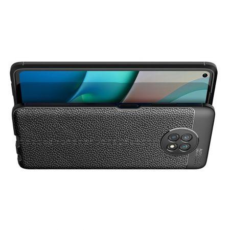 Litchi Grain Leather Силиконовый Накладка Чехол для Xiaomi Redmi Note 9T с Текстурой Кожа Черный