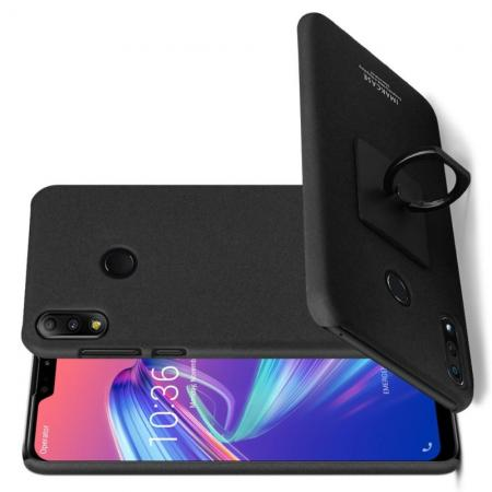 Матовый Пластиковый IMAK Finger чехол для Asus Zenfone Max Pro M2 ZB631KL С Держателем Кольцом Подставкой Песочно-Черный + Защитная пленка для экрана