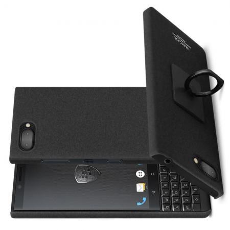 Матовый Пластиковый IMAK Finger чехол для BlackBerry KEY2 С Держателем Кольцом Подставкой Песочно-Черный + Защитная пленка для экрана
