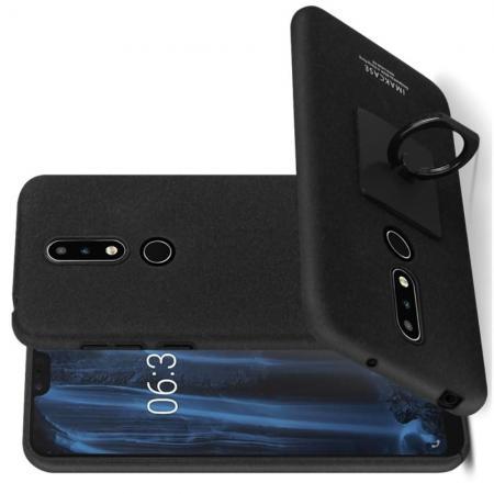 Матовый Пластиковый IMAK Finger чехол для Nokia 6.1 Plus С Держателем Кольцом Подставкой Песочно-Черный + Защитная пленка для экрана