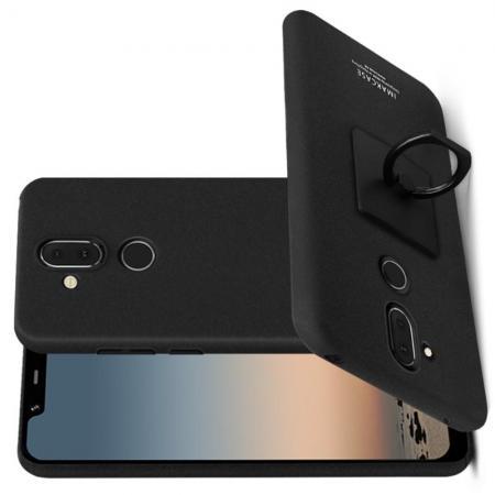 Матовый Пластиковый IMAK Finger чехол для Nokia 8.1 С Держателем Кольцом Подставкой Песочно-Черный + Защитная пленка для экрана