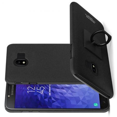 Матовый Пластиковый IMAK Finger чехол для Samsung Galaxy J4 2018 SM-J400 С Держателем Кольцом Подставкой Песочно-Черный + Защитная пленка для экрана