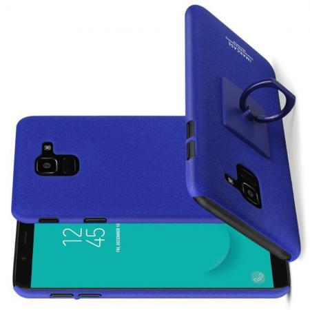 Матовый Пластиковый IMAK Finger чехол для Samsung Galaxy J6 SM-J600 С Держателем Кольцом Подставкой Синий + Защитная пленка для экрана