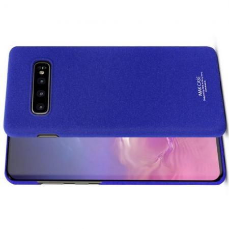 Матовый Пластиковый IMAK Finger чехол для Samsung Galaxy S10 Plus Синий + Защитная пленка для экрана