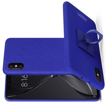 Матовый Пластиковый IMAK Finger чехол для Xiaomi Mi 8 Explorer С Держателем Кольцом Подставкой Синий + Защитная пленка для экрана