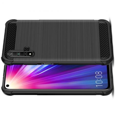 Матовый Силиконовый IMAK Vega Карбоновая Текстура Чехол c Противоударными Углами для Huawei Honor 20 черный