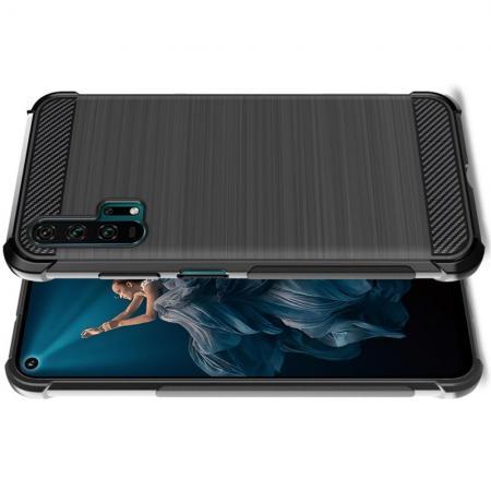 Матовый Силиконовый IMAK Vega Карбоновая Текстура Чехол c Противоударными Углами для Huawei Honor 20 Pro черный