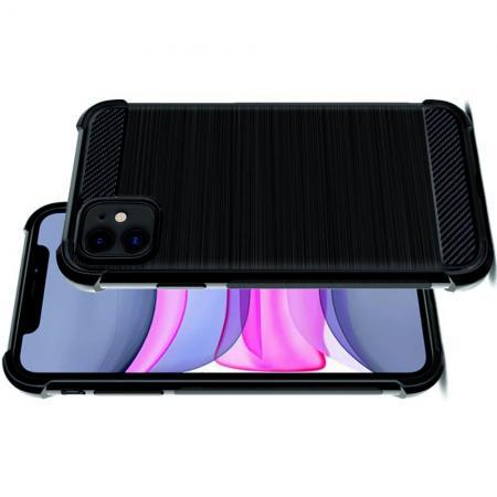 Матовый Силиконовый IMAK Vega Карбоновая Текстура Чехол c Противоударными Углами для iPhone 11 черный