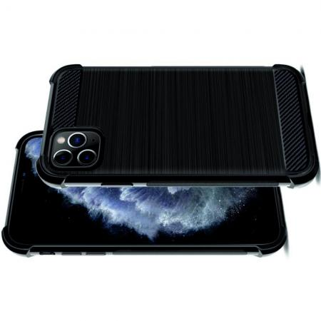 Матовый Силиконовый IMAK Vega Карбоновая Текстура Чехол c Противоударными Углами для iPhone 11 Pro черный