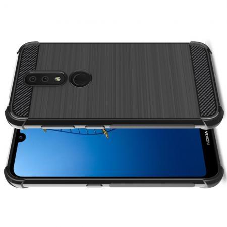 Матовый Силиконовый IMAK Vega Карбоновая Текстура Чехол c Противоударными Углами для Nokia 4.2 черный