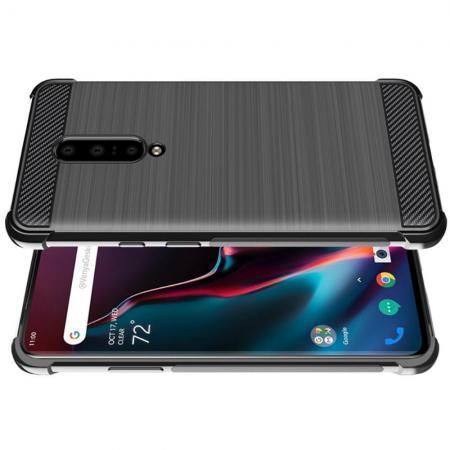 Матовый Силиконовый IMAK Vega Карбоновая Текстура Чехол c Противоударными Углами для OnePlus 7 Pro черный