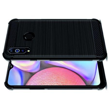 Матовый Силиконовый IMAK Vega Карбоновая Текстура Чехол c Противоударными Углами для Samsung Galaxy A20s черный