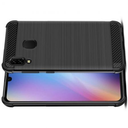Матовый Силиконовый IMAK Vega Карбоновая Текстура Чехол c Противоударными Углами для Samsung Galaxy A40 черный