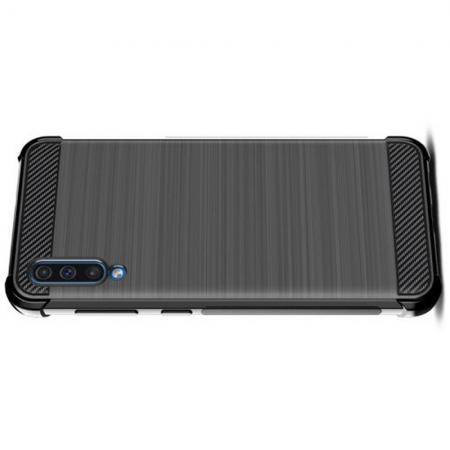 Матовый Силиконовый IMAK Vega Карбоновая Текстура Чехол c Противоударными Углами для Samsung Galaxy A50 черный
