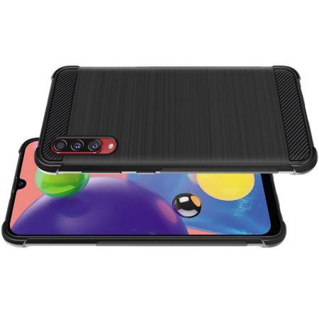 Матовый Силиконовый IMAK Vega Карбоновая Текстура Чехол c Противоударными Углами для Samsung Galaxy A70s черный