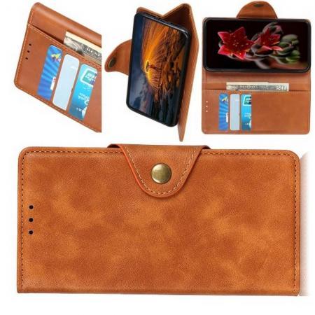 Боковая Чехол Книжка Кошелек с Футляром для Карт и Застежкой Магнитом для Xiaomi Redmi 7 Коричневый