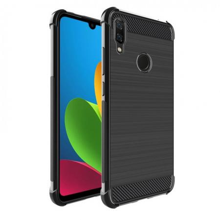 Матовый Силиконовый IMAK Vega Карбоновая Текстура Чехол c Противоударными Углами для Xiaomi Redmi Note 7 / Note 7 Pro черный
