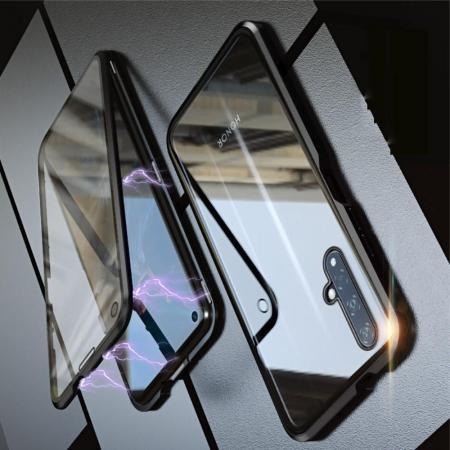 Металлический Магнитный Чехол Бампер с Закаленным Стеклом Huawei Honor 20 Черный