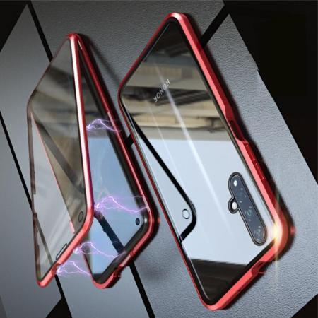 Металлический Магнитный Чехол Бампер с Закаленным Стеклом Huawei Honor 20 Красный
