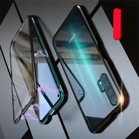 Металлический Магнитный Чехол Бампер с Закаленным Стеклом Huawei Honor 20 Pro Черный