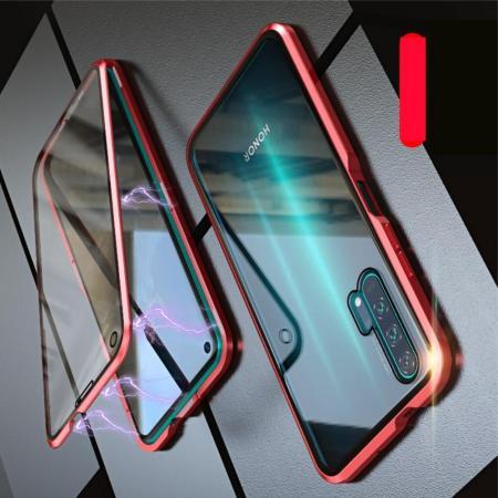Металлический Магнитный Чехол Бампер с Закаленным Стеклом Huawei Honor 20 Pro Красный