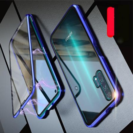 Металлический Магнитный Чехол Бампер с Закаленным Стеклом Huawei Honor 20 Pro Синий