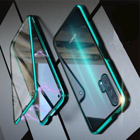 Металлический Магнитный Чехол Бампер с Закаленным Стеклом Huawei Honor 20 Pro Зеленый