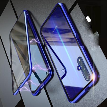 Металлический Магнитный Чехол Бампер с Закаленным Стеклом Huawei Honor 20 Синий