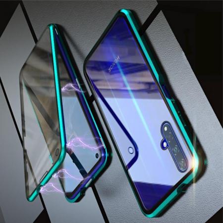 Металлический Магнитный Чехол Бампер с Закаленным Стеклом Huawei Honor 20 Зеленый