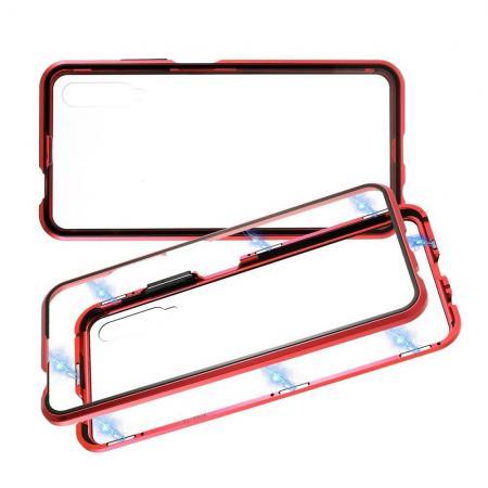 Металлический Магнитный Чехол Бампер с Закаленным Стеклом Huawei Honor 9X Красный