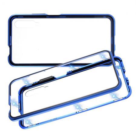 Металлический Магнитный Чехол Бампер с Закаленным Стеклом Huawei Honor 9X Синий