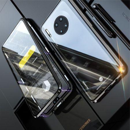 Металлический Магнитный Чехол Бампер с Закаленным Стеклом Huawei Mate 30 Черный