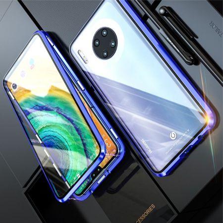 Металлический Магнитный Чехол Бампер с Закаленным Стеклом Huawei Mate 30 Фиолетовый