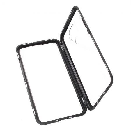 Металлический Магнитный Чехол Бампер с Закаленным Стеклом Huawei Mate 30 Lite Черный