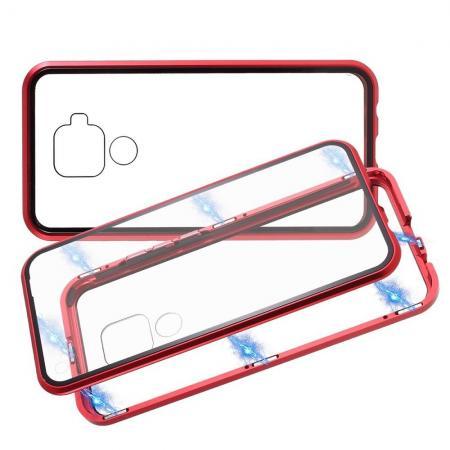 Металлический Магнитный Чехол Бампер с Закаленным Стеклом Huawei Mate 30 Lite Красный