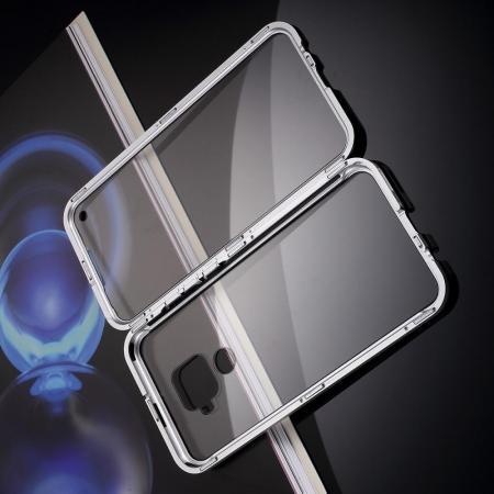 Металлический Магнитный Чехол Бампер с Закаленным Стеклом Huawei Mate 30 Lite Серебряный