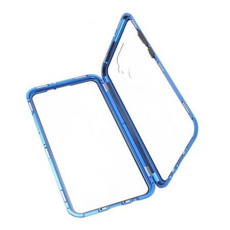 Металлический Магнитный Чехол Бампер с Закаленным Стеклом Huawei Mate 30 Lite Синий