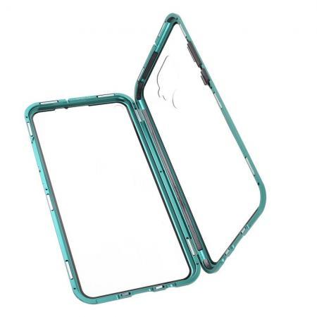 Металлический Магнитный Чехол Бампер с Закаленным Стеклом Huawei Mate 30 Lite Зеленый
