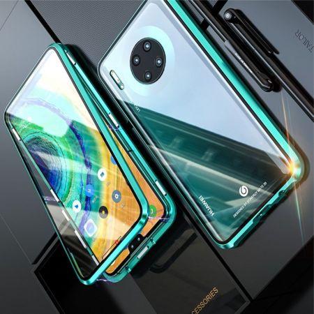 Металлический Магнитный Чехол Бампер с Закаленным Стеклом Huawei Mate 30 Зеленый