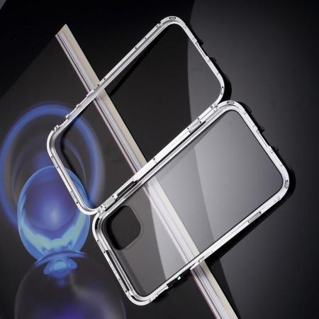 Металлический Магнитный Чехол Бампер с Закаленным Стеклом iPhone 11 Pro Белый
