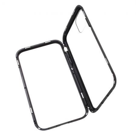 Металлический Магнитный Чехол Бампер с Закаленным Стеклом iPhone 11 Pro Max Черный