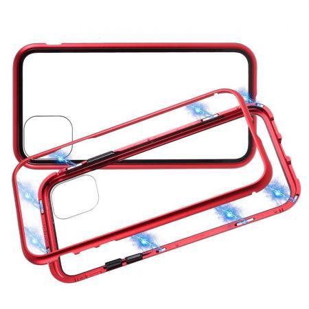 Металлический Магнитный Чехол Бампер с Закаленным Стеклом iPhone 11 Pro Max Красный