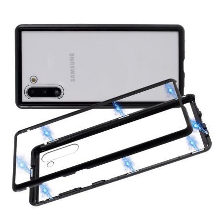 Металлический Магнитный Чехол Бампер с Закаленным Стеклом Samsung Galaxy Note 10 Черный