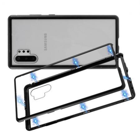 Металлический Магнитный Чехол Бампер с Закаленным Стеклом Samsung Galaxy Note 10 Plus Черный