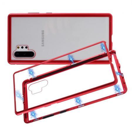 Металлический Магнитный Чехол Бампер с Закаленным Стеклом Samsung Galaxy Note 10 Plus Красный