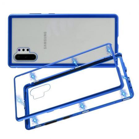Металлический Магнитный Чехол Бампер с Закаленным Стеклом Samsung Galaxy Note 10 Plus Синий